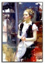 beautiful waitress oil painting portrait