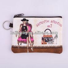 Travel souvenir cotton and zipper card key bag