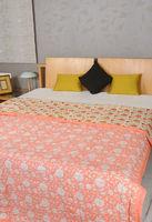 Vintage Indian Cotton Hand Block Print Quilt