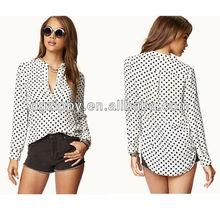 Polka Dot High-Low woman clothing bangkok shirts
