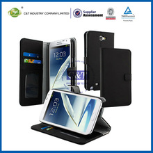 C&T Leather Wallet with Stand and Credit Card Holder Case for Samsung Galaxy Note 2 II N7100