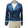 Chaqueta de cuero azul con tachuelas, chaquetas de cuero para mujeres