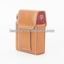 2014 trend fashion cigarette cases with lighter holder,gentlemen leather business mens cigarette organizer