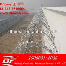 Arame farpado plano wrap / galvanizado navalha barbed wire mesh fence