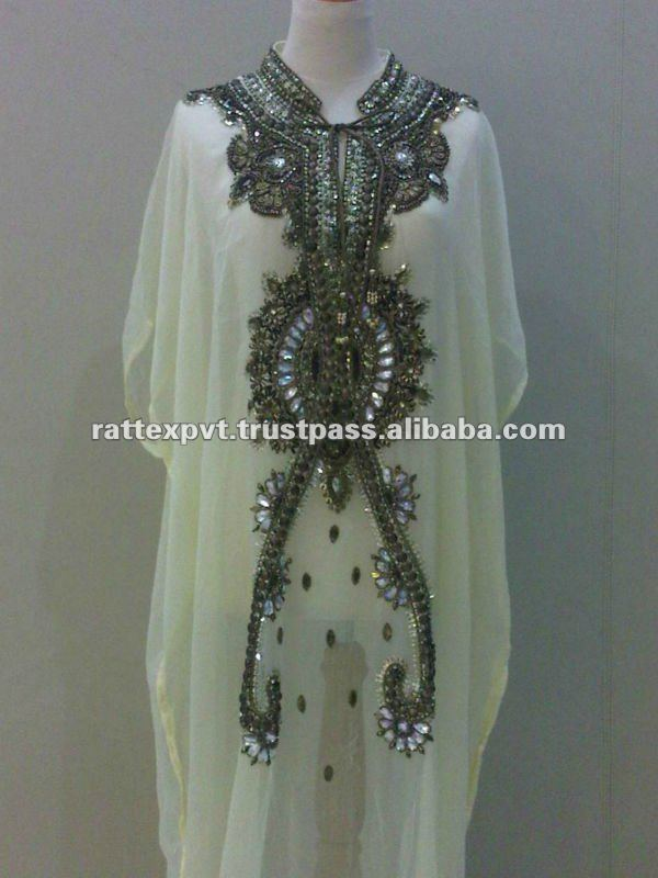 Branded Arabic White chiffon kaftan with silver beaded on top 2013