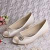 Small Size Women Shoes Wedding Ballet Pearl Flower Peep Toe