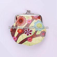 Snap closure kisslock PU clutch purse mini coin bag