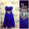 CDM-0029 Royal Blue Crystals Sashes Silk Chiffon Short Cocktail dresses 2014 Spring