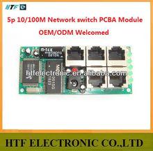 OEM/ODM 5 Port 10/100M connector Unmanaged full duplex LAY2 PCBA Module 5VDC smart home 5P lan Network ethernet SWITCH module-