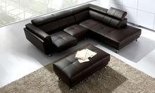 Modern chinese simple living furniture Design Leather Corner Sofa From Foshan Furniture Market Black 9121