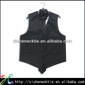 poli raso liso negro formal chalecos para los hombres
