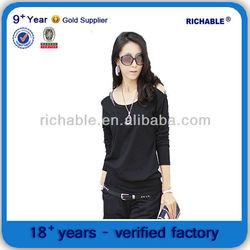 pima cotton slim fit t shirt wholesale with off shoulder