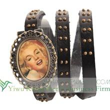 2014 New arrival antique flip watch leather wrap bracelet watch for ladies!! Latest design leather flip watch on sale!!