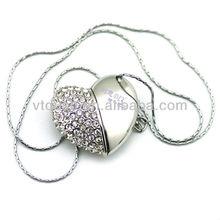 heart shape usb necklace,heart shape usb flash,crystal heart shape usb