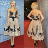 Elegant A Line Puffy Black Lace Tea Length Cheap Celebrity Dress