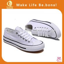 2014 Wholesale China Manufacturer Plain Sneakers Women White Canvas Shoes