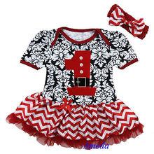 Xmas 1st Santa Newborn Baby Red Damask Chevron Bodysuit Pettiskirt Party Dress Romper NB-18M