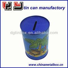Cylindrical tin money box coin bank saving box