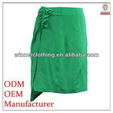 Trendy asemmetrical style ladies silk wrap around skirt fashion design