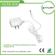 portable 5v 1a for samsung travel charger with micro usb cable