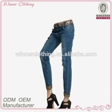 casual wear hot sale low waist denim trousers with leopard hem