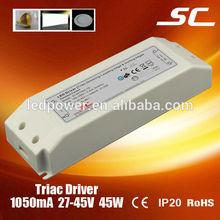 KI-451050-TD triac dimmable 45W 1050MA IP20 led light power adapter