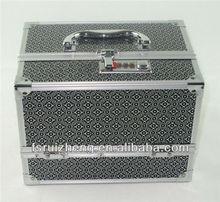 Black Aluminum Double Open Cosmetic Make Up Box,Beauty Travel Case,RZ-TTB15