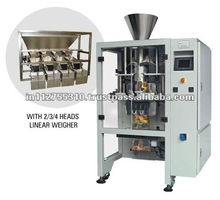 Automatic collar type vertical form fill seal machine with linear weigh scale type filler and touch PLC