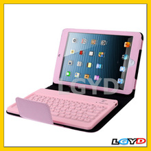New arrival Bluetooth 3.0 Keyboard and Leather Case with Holder for iPad mini (Pink)