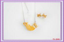TS-2848 Hot Wholesale Handmade Resin Clay Child Kids Jewelry Set Cute Jewelry fashion jewelry manufacturer Cute Yellow Cat Jewel