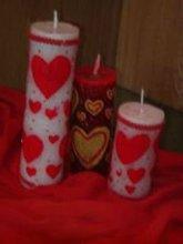 Designed pillar candles