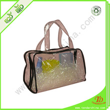 plastic clear pvc zipper tote bag with zipper closure for cosmetic gift packing supplied by China factory