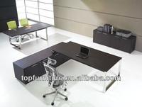 High End Wood L Shape Modern Black Executive Desk