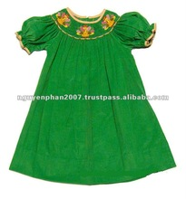 Green Corduroy Smocked Thanksgiving Turkey Dress