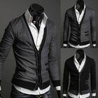 Men Zipper Pocket Imported Fake Fleece Cardigan Sweater Coat Korean Stylish Slim Mens Sweater Y03