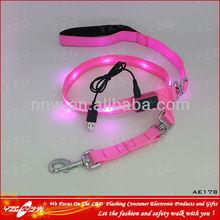 LED flexible dog leash adopt nylon material