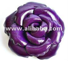 Hair Clips, Hairgrips Leather Rose Flower