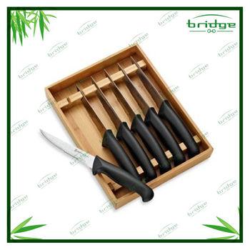 Bamboo 6pcs knife block knife stands