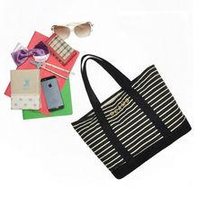 Black and white stripe shopping bags canvas shopping bag