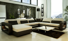 French design Large Size U-shaped genuine leather Corner Sofa sale dubai 9119