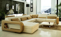 Moda big grande sala de estar de estilo semi círculo couro marrom sofá forma redonda chaise 9119