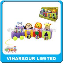 superior calidad de peluche juguetes del bebé y tire a lo largo de los animales de tren