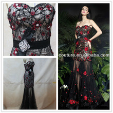 Cheap Sweetheart Crystal Sash Appliques Black Tulle Floor Length Cocktail Dresses under 30 Homecoming Dresses 2014 XT-361