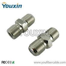 CATV double female coxial cable F connector barrel splice screw