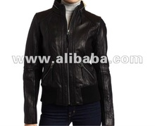 Women's Black Gorgeous Leather Jacket with Zip at back