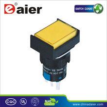 3A 110V 3 PIN yellow Rectangular push button lamp switch