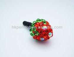 Luxury bling Strawberry Dust Plug - Dustproof Ear Cap - Earphone Jack 3.5mm (Free Shipping) - Red