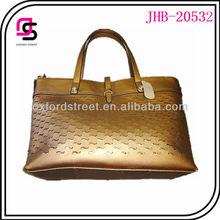Metallic pu leather tote bag,pu handbag,two handle tote bag ladies