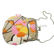 Print corduroy metal frame mini coin purse for girls