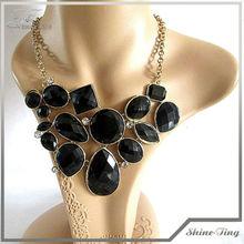 Black Color Bubble Necklace With Gold Tone Chain Bib Necklace Statement Necklace130901-60